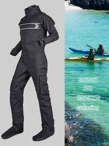 Padding Dry-Suit Kayak Waterproof One-Piece Black Men with Latex Wrist-Neck Canoe Front-Entry