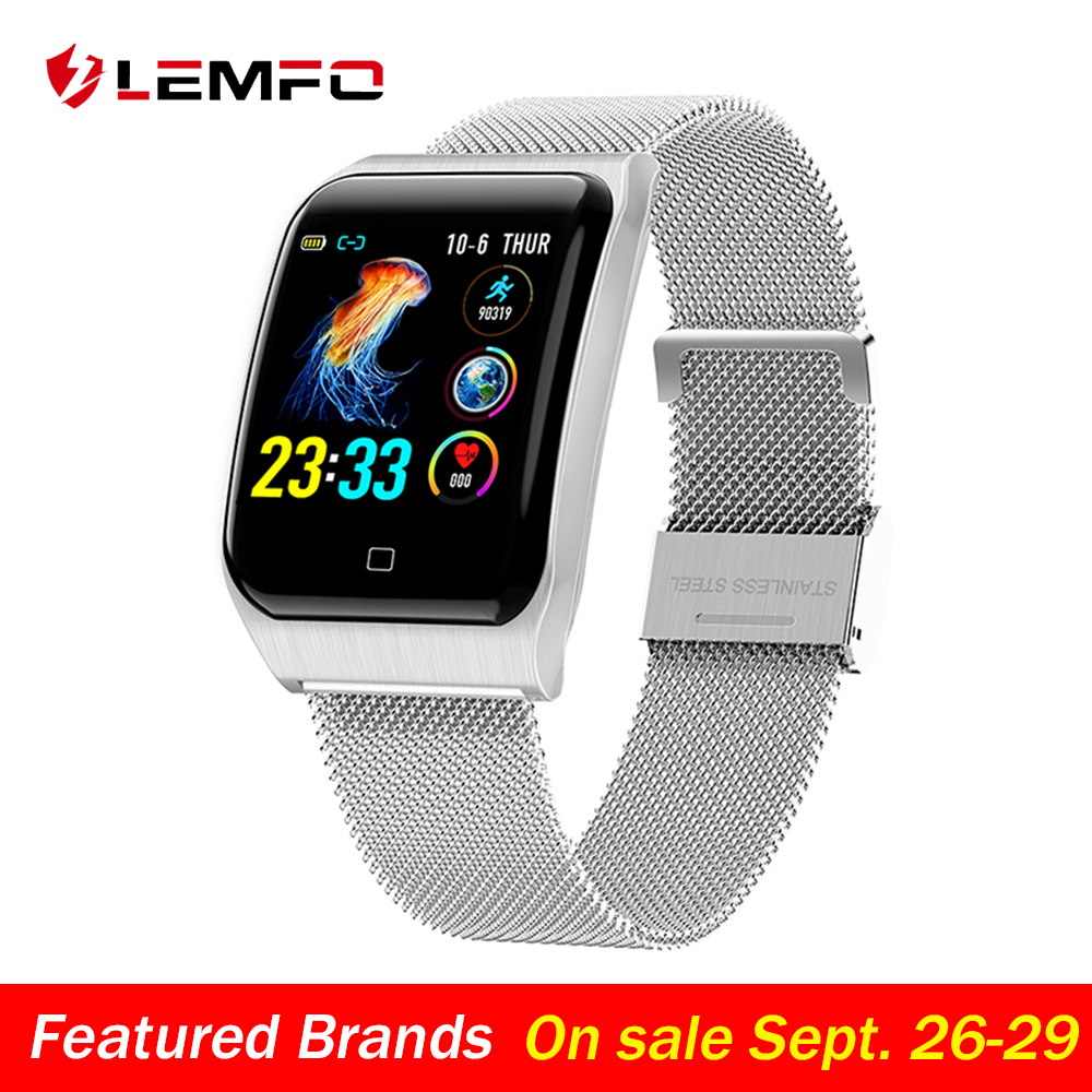 LEMFO F9 Smart Watch Men IP68 Waterproof Steel Case Strap Heart Rate Blood Pressure Monitor 200Mah Battery Sport Smartwatch