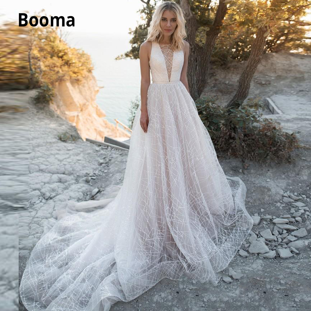 Booma A Line Wedding Dresses V Neck Sleeveless Sequins Wedding Gowns Boho Sweep Train Robe De Mariée Open Back