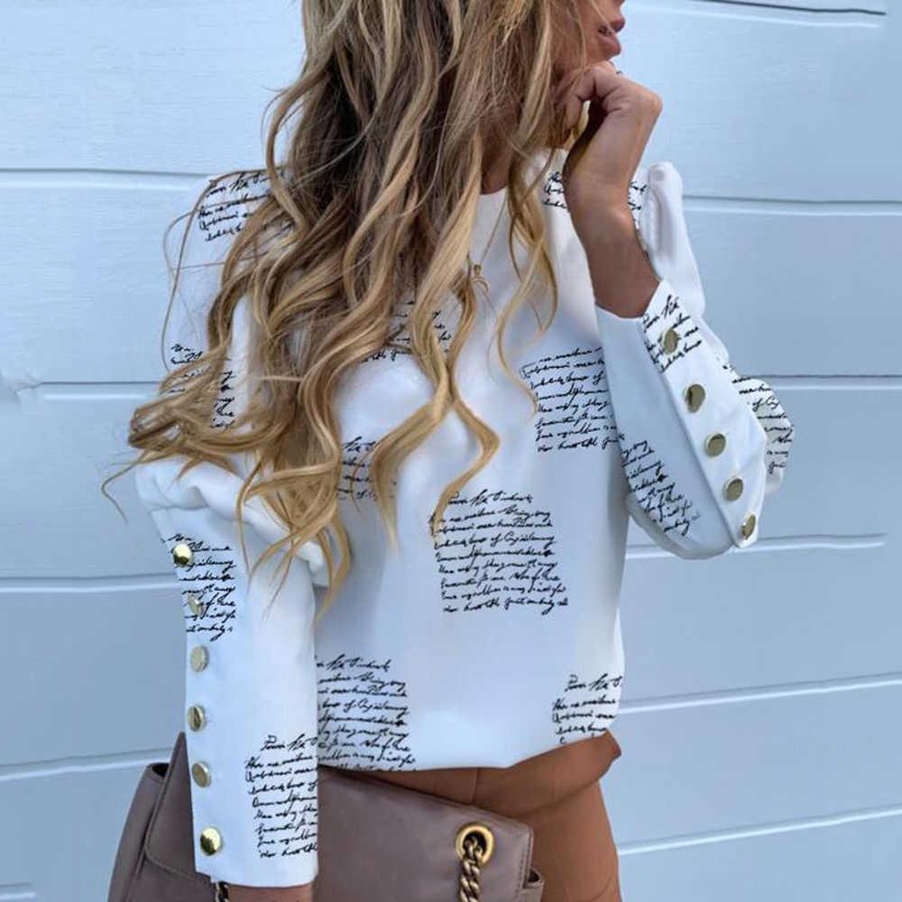 DIHOPE พัฟเสื้อเสื้อไหล่เสื้อสำนักงานเลดี้ใหม่ฤดูใบไม้ร่วงโลหะ Buttoned รายละเอียดเสื้อผู้หญิงสับปะรดพิมพ์เสื้อแขนยาว