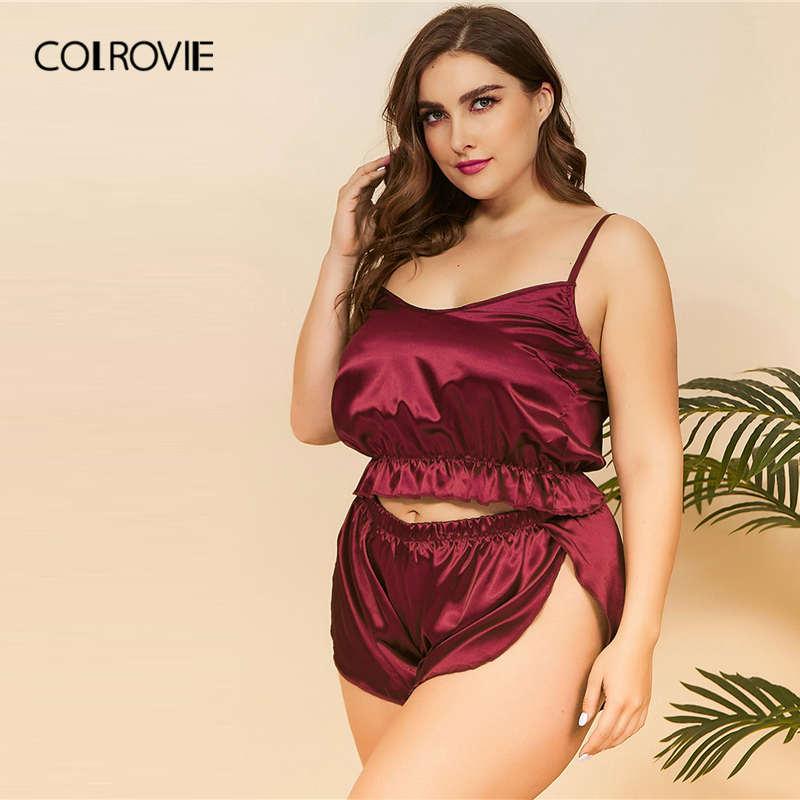 COLROVIE Plus Size Ruffle Hem Satin Cami Top With Shorts Women Burgundy Pajamas Set 2019 Sexy Sets Female Sleepwear