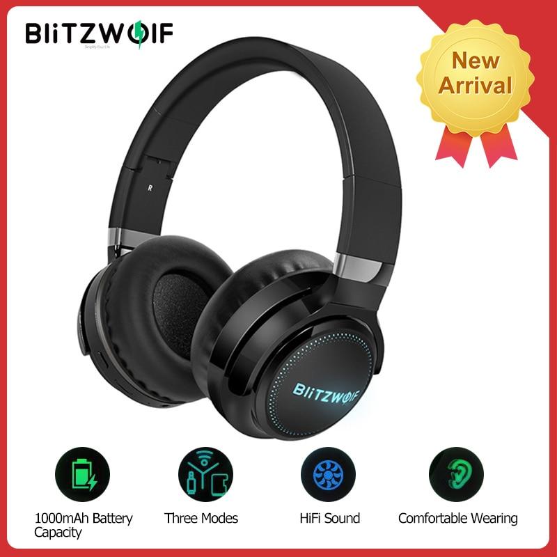 BlitzWolf BW-HP0 Pro bezprzewodowe słuchawki bluetooth gamingowy zestaw słuchawkowy na ucho światło RGB radio HiFi słuchawki basowe z mikrofonem