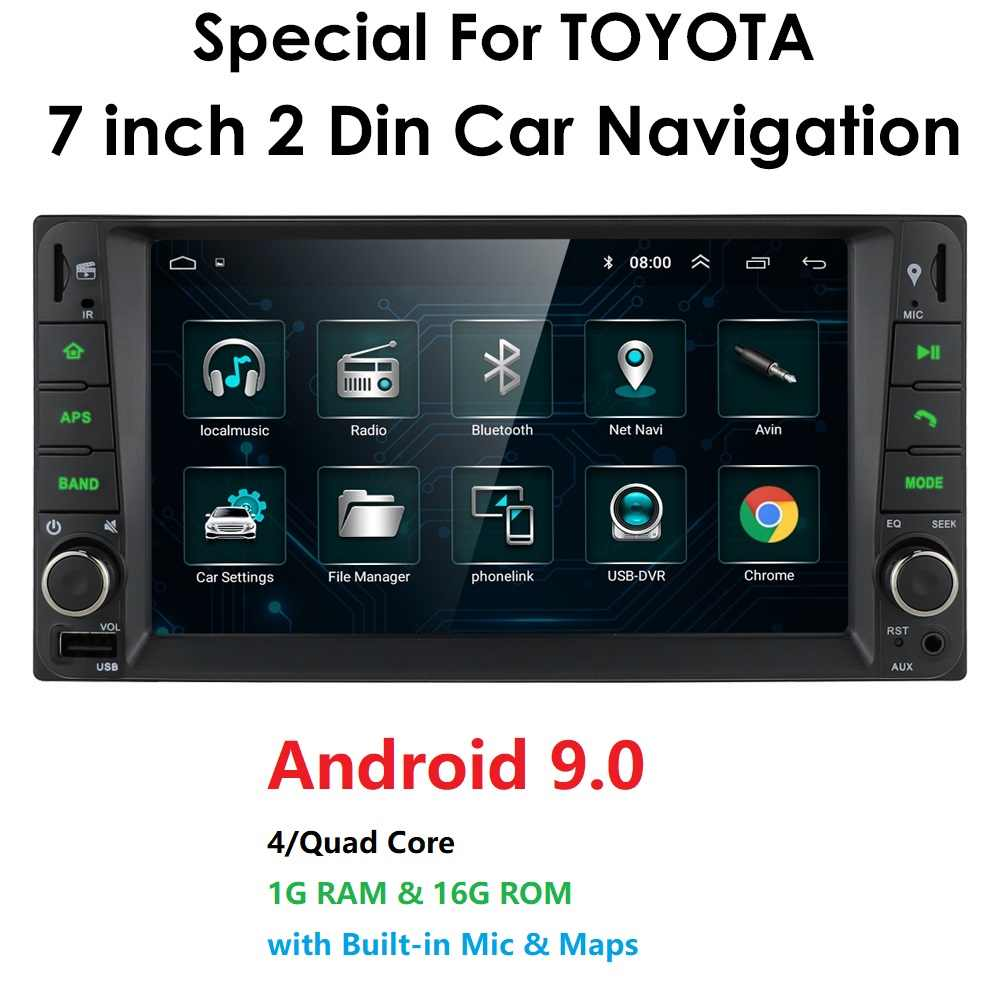 7 ''Android 9 pour Toyota RAV4/Hilux/Camry/Corolla/Terios prennent en charge 2 din 4 autoradio multimédia stéréo GPS WIFI 4G SWC BT GPS