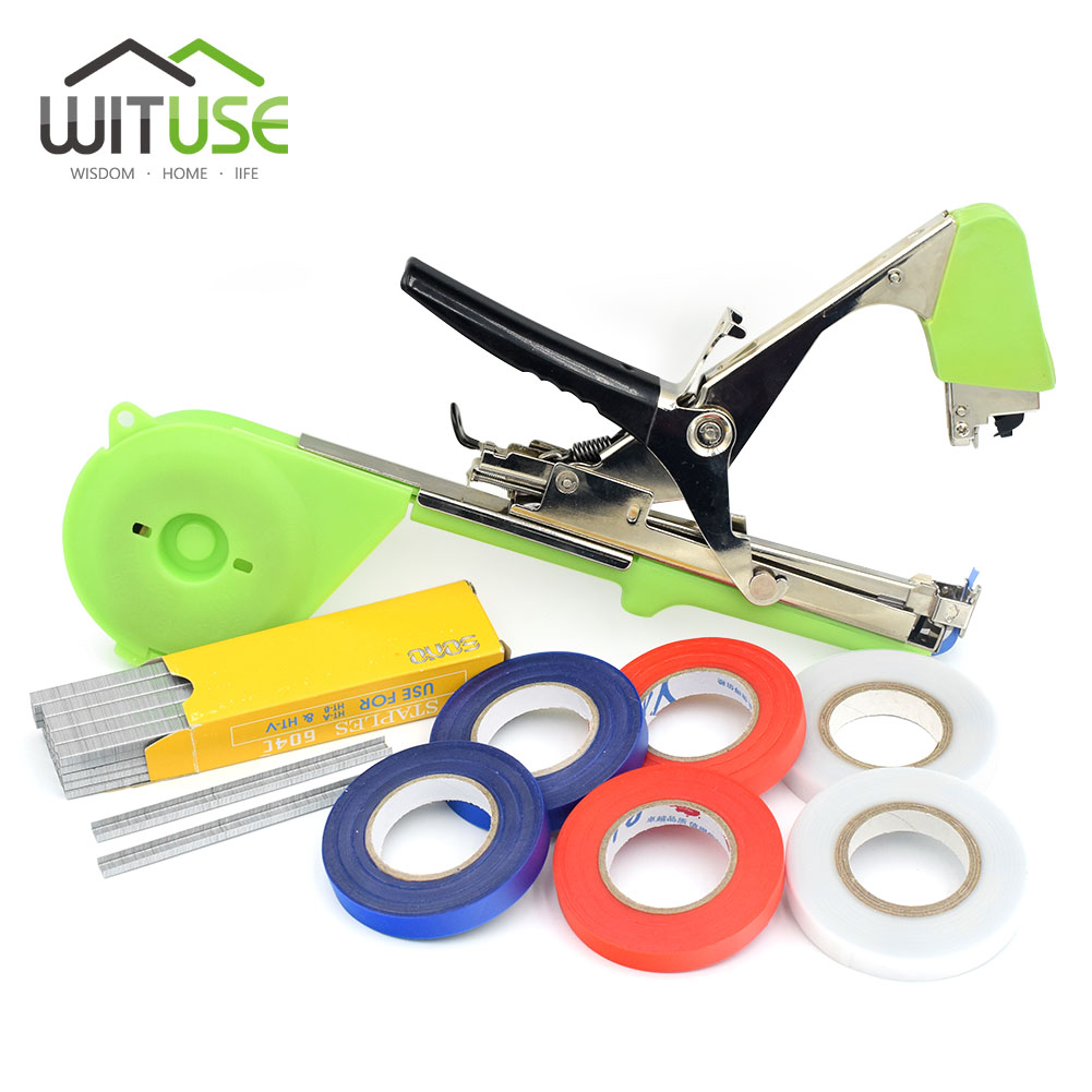 Tying Machine Plant Garden Plant Tapetool Tapener With Tape And Nail Set For Vegetable, Grape, Tomato,Cucumber, Pepper Flower