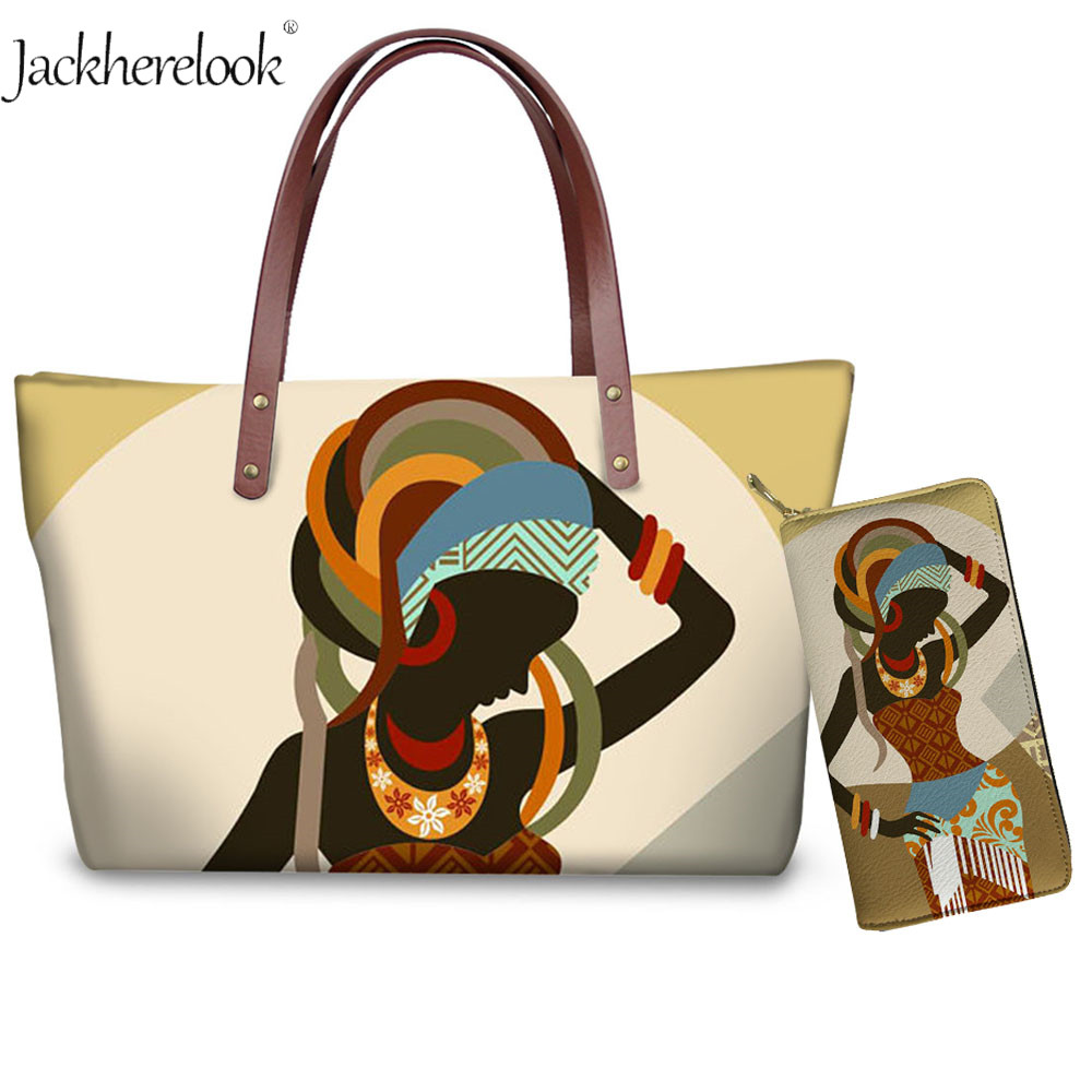Africa Symbols Cartoon Girl Print Large Women Messenger Bags With Purse Phone Coin Bag Causal Tote Fashion Lady African Handbags