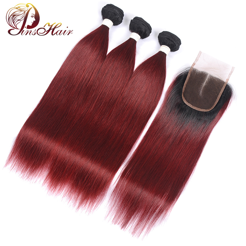 Pre-Colored Red Peruvian Straight Human Hair 3 Bundles With Closure Pinshair Nonremy Hair Ombre T1B/99J Burgundy With Baby Hair