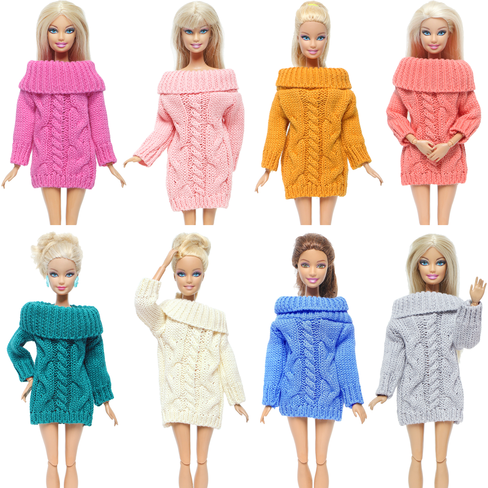 Handmade Colourful Doll Coat Pure Cotton Sweater Winter Knitted Tops Dress Clothes For Barbie Doll Girl Accessories DIY Toy