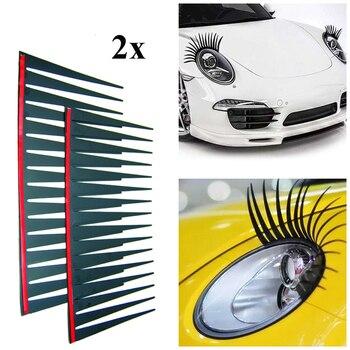 2 шт./компл. наклейки для автомобильных фар, 3D очаровательные черные накладные ресницы, украшение для автомобильной фары, забавная наклейка Наклейки на автомобиль      АлиЭкспресс