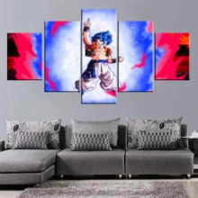 Pictures Living Room Modular Printed Cartoon Super Saiyan Painting Home Decor Gogeta SSB Canvas Wall Art Poster 5 Pieces