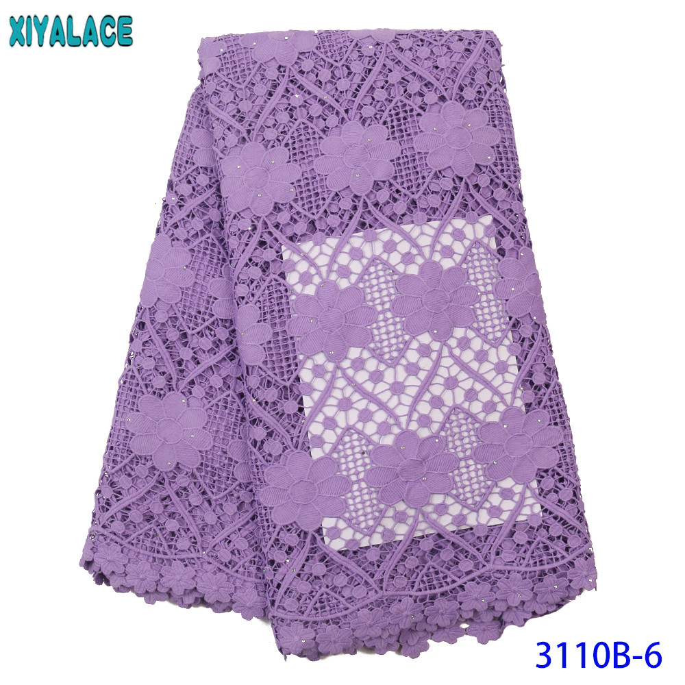 XIYA Lace 2019 High Quality Cord Lace African Lace Fabric Nigerian French Guipure Lace Fabric With Stones Hollow Out KS3110B