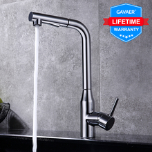 цены Gavaer Copper Kitchen Faucets Single Handle Pull Out Kitchen Taps 360° Design Hot And Cold Right Angle Faucet Kitchen Water Tap