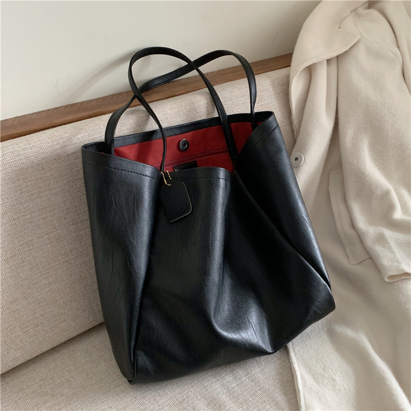Burminsa Chic Big Soft Women Handbags Large Capacity Female Tote Bags High Quality Ladies Shopper Shoulder Bags 2020 Black Beige