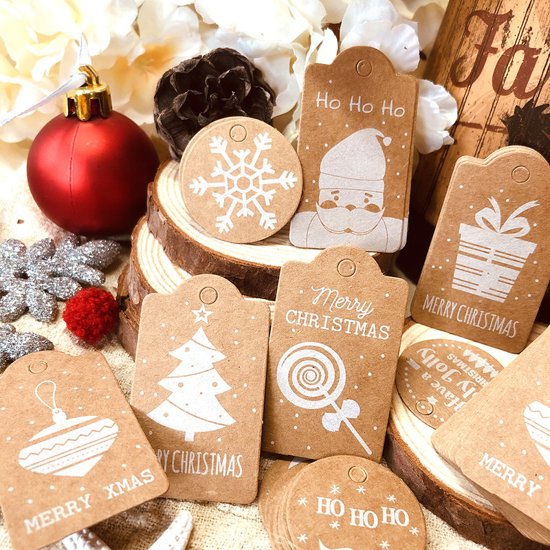 50PCS Christmas Kraft Paper Tags DIY Crafts Hang Tag With Rope Labels-Gift
