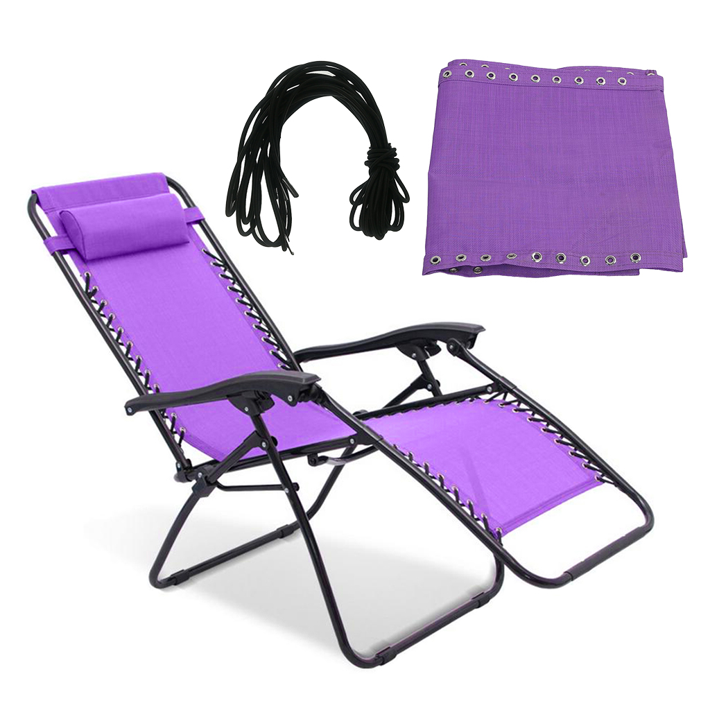 2 Set Purple Replacement Cloth & Cord Laces For Zero Gravity Chairs With Ready Made Pouch Holes