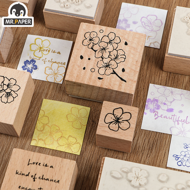 Mr.Paper Diverse Flowers White Clear Log Plan Wooden Rubber Seals For DIY Ancient Scrapbooking Decoration Standard Wooden Stamps