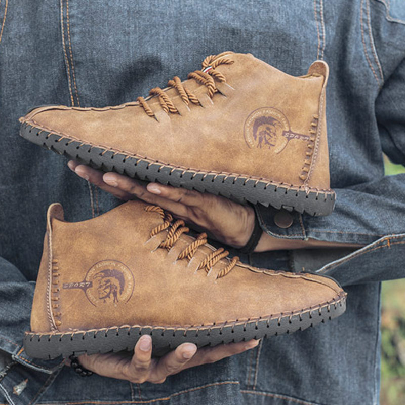2019 Winter Shoes Men Warm Boots Men Fur High Quality Split Leather Wterproof Ankle Snow Boots Lace-Up Comfortable New Big Size