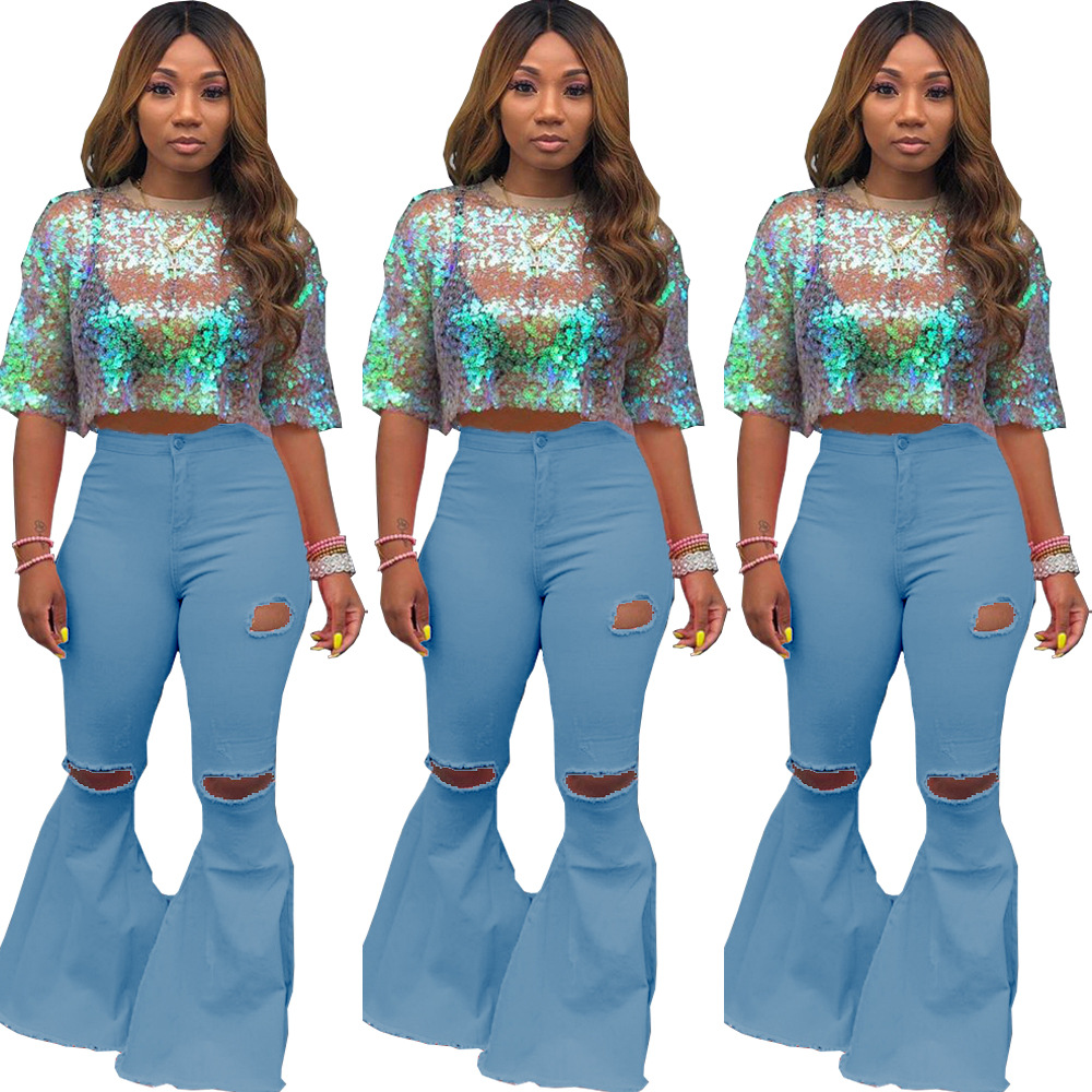 Echoine Sexy Ripped jeans Hollow out Flare Plus Size denim Pants High Waist Bodycon Hole Women Trousers Club Outfits 2020
