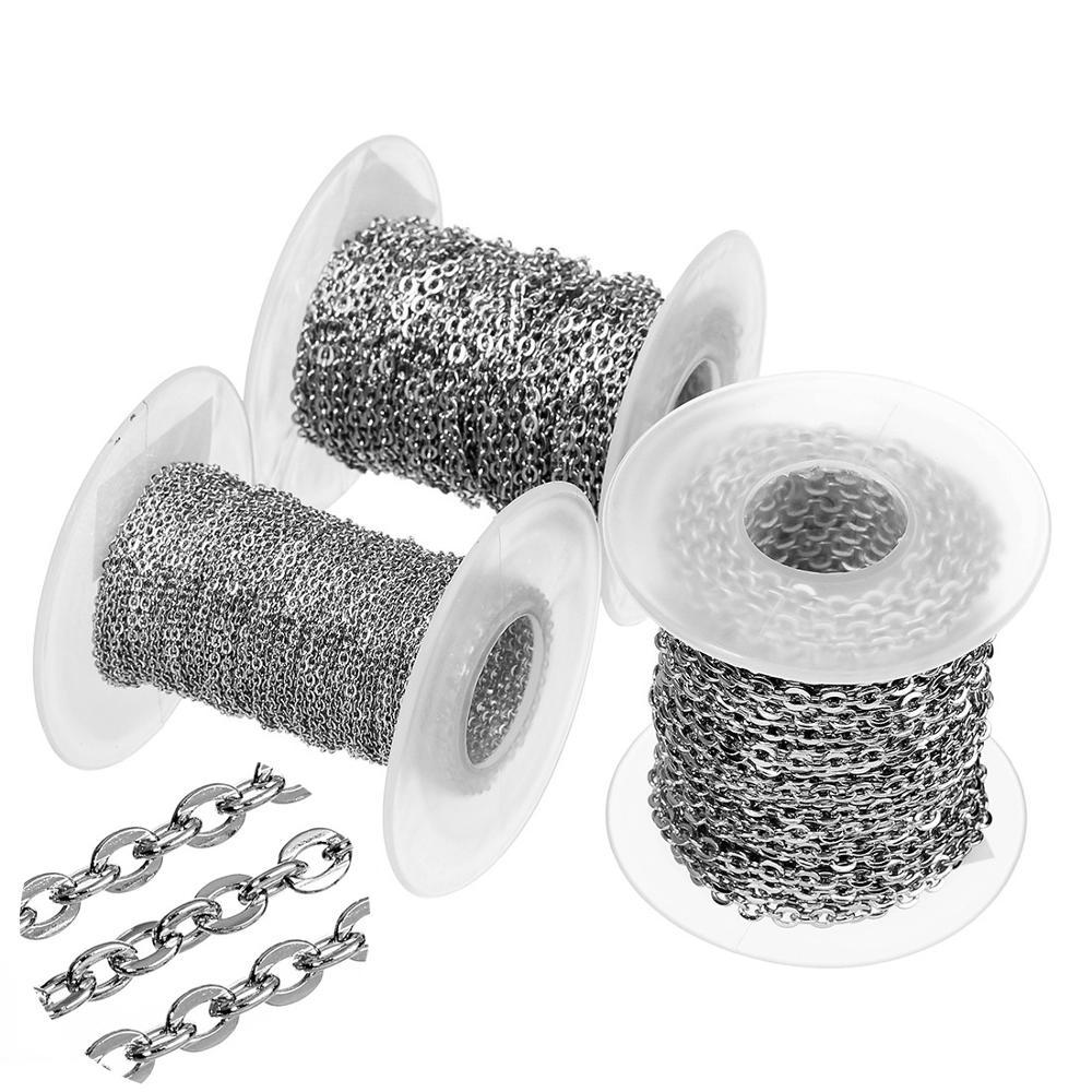 Металлическая Плоская овальная цепочка из нержавеющей стали