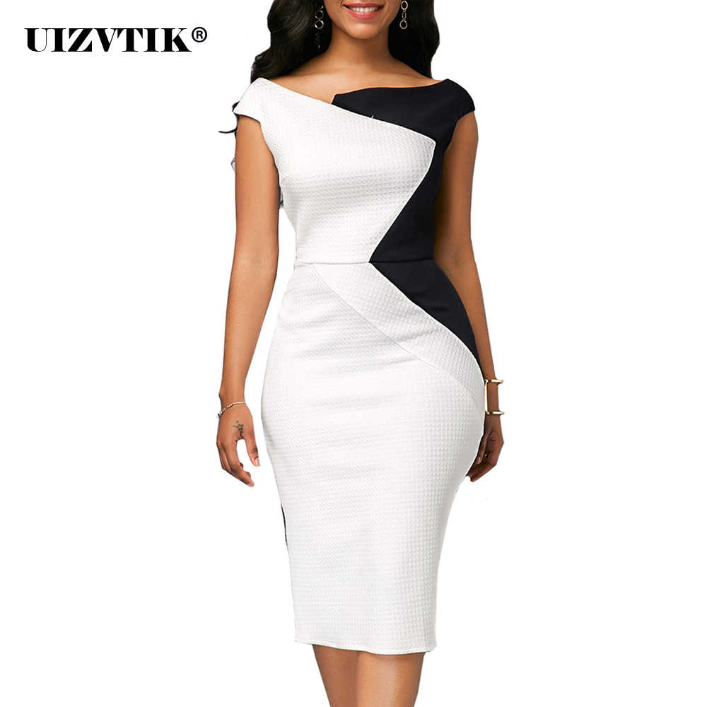Patchwork Zomer Jurk Vrouwen 2019 Casual Plus Size Slim Office Bodycon Jurken Elegante Vintage Sexy Split Party Jurk Wit 5XL