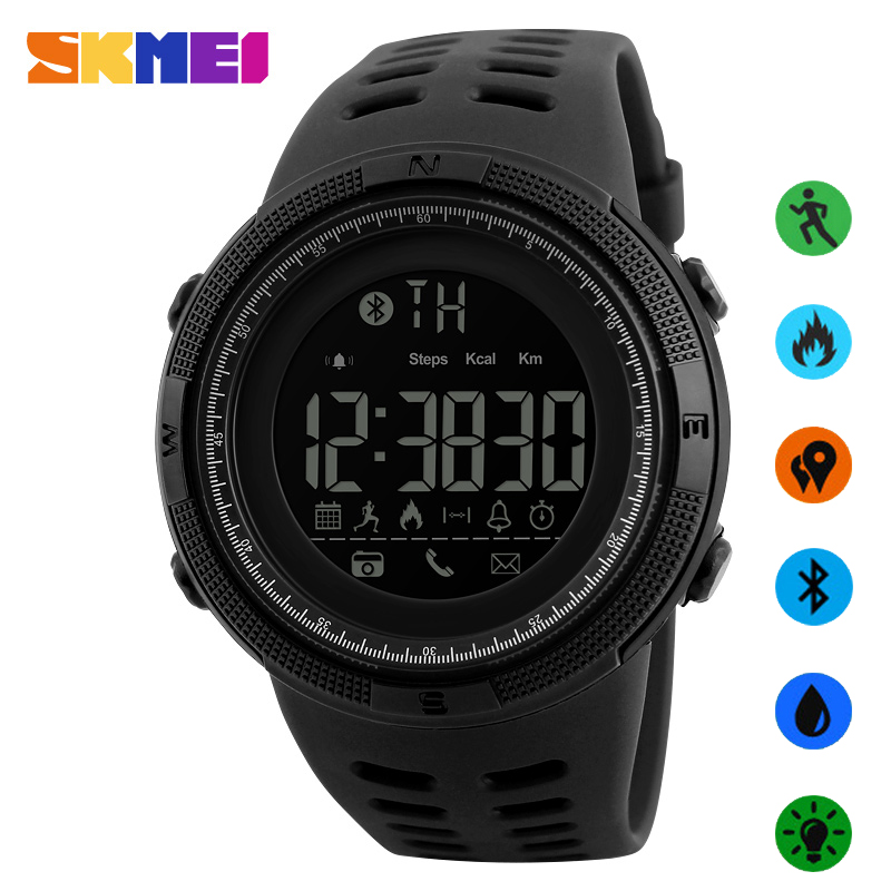 New SKMEI Men's Smart Sport Watch Brand Bluetooth Calorie Pedometer Fashion Watches Men 50M Waterproof Digital Clock Wristwatch