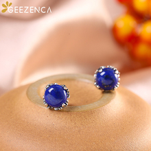 925 Sterling Thai Silver Blue Gemstone Women's Earrings Fine Jewelry Natural Lapis Lazuli Peony Leaf Earring Vintage Trendy Gift 925 sterling silver thai handcrafted individual trendy leaf frosted fine bracelet creative feather lady s ring accessories