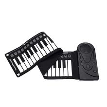 49 Key Speaker Hand Roll Electronic Piano Portable Folding Electronic Soft Keyboard Roll Up Piano Gift(China)