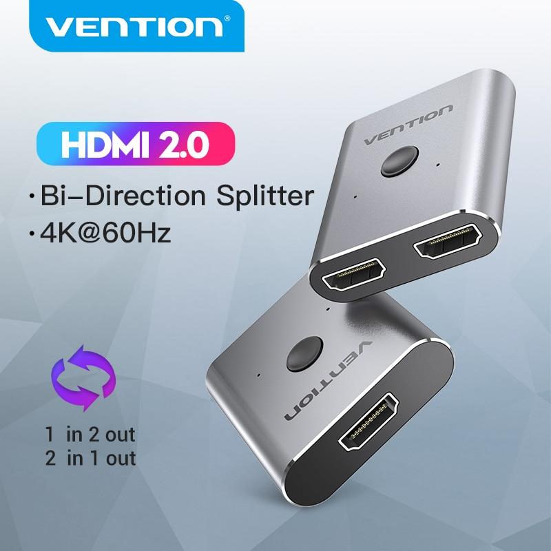 Vention hdmi switcher 4k bi-direção 2 em 1 para fora hdmi 2.0 adaptador para caixa de tv ps4 1x 2/2x1 hdmi switcher hdmi hdmi divisor compatível
