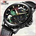 Switzerland TEVISE Twiss полностью автоматические механические наручные часы в Корейском стиле для мужчин, водонепроницаемые подарочные часы с фазой ...