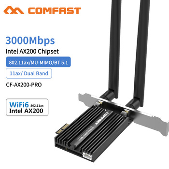 3000Mbps Dual Band Wireless Desktop PCIe For Intel AX200 Pro Card 802.11ax 2.4G/5Ghz Bluetooth 5.1 PCI Express WiFi 6 E Adapter 1