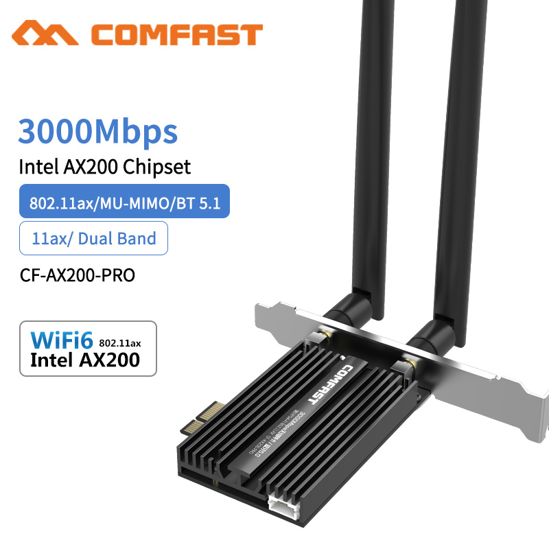 3000Mbps Dual Band Wireless Desktop PCIe For Intel AX200 Pro Card 802 11ax 2 4G 5Ghz Bluetooth 5 1 PCI Express WiFi 6 Adapter