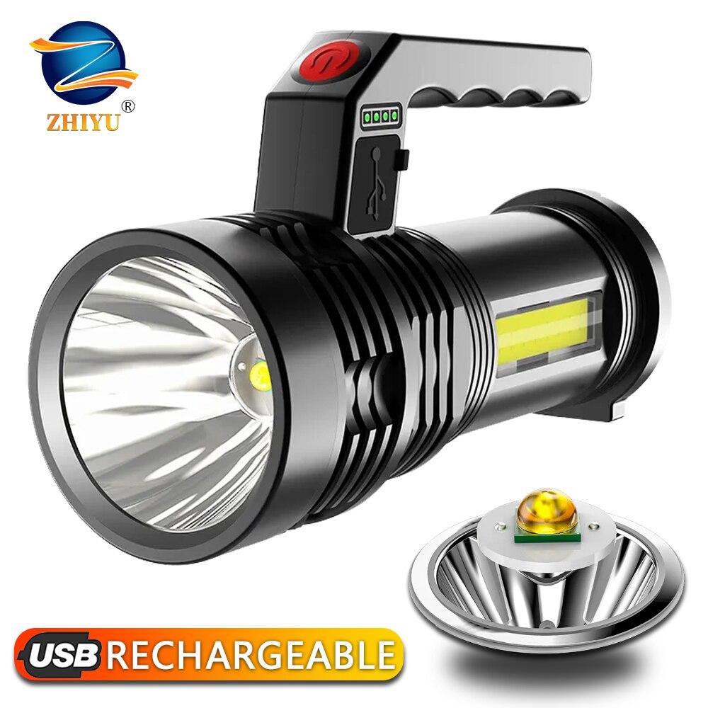 Мощный светодиодный вспышка светильник Портативный светодиодный P500 фонарь USB Перезаряжаемые поиск светильник Водонепроницаемый Точечный ...