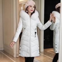 Womens Coats Winter Korean Fashion Down Jacket Fur Hooded Women PU Leather Coat Plus Size Down Jackets Windbreaker Puffer Jacket цена 2017
