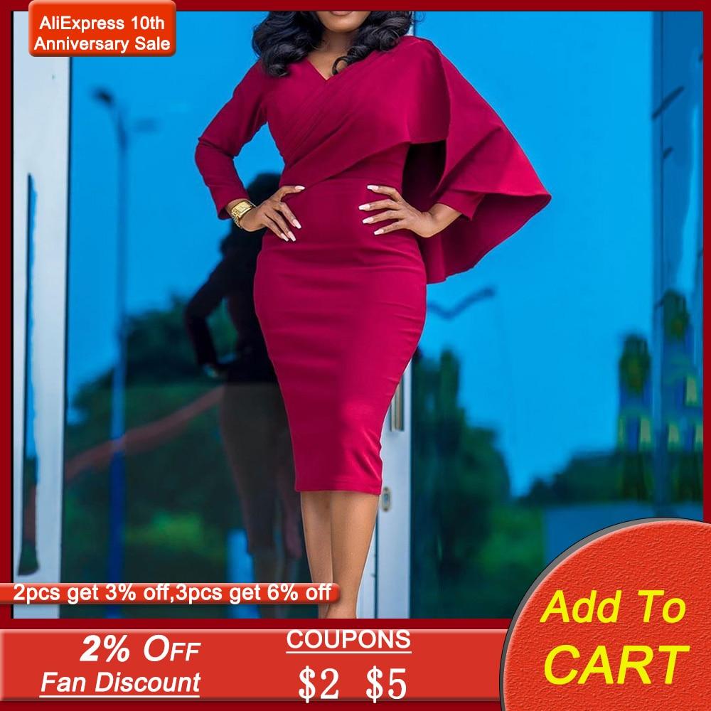 Women Casual Dresses Long Sleeve Office Wear Bodycon Midi Skirt Evening Cocktail