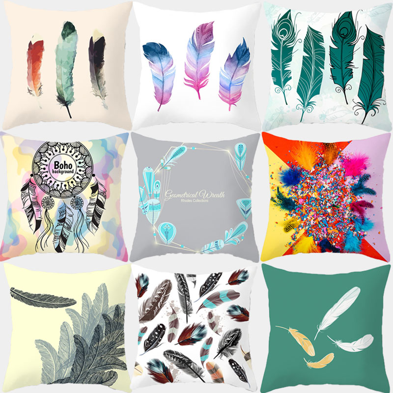 Cartoon Feather Printed Cushion Cover 45*45 Sofa Cushions Office Car Pillow Cases Polyester Home Decor Pillow Covers 10435