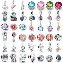 925 prata esterlina momentos encantos caber pandora original charme pulseira série oceano s925 contas diy jóias