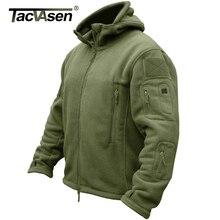 TACVASEN Winter Airsoft Militär Jacke Männer Fleece Taktische Jacke Thermische Kapuze Jacke Mantel Herbst Oberbekleidung Herren Kleidung 3XL