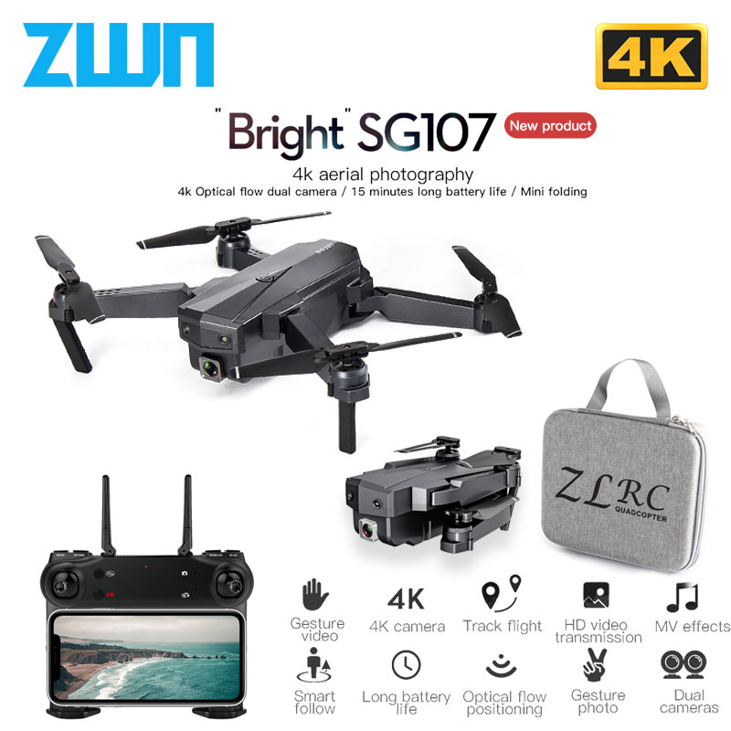 ZWN SG107 Mini Drone with 4K WIFI FPV HD Camera 2.4GHZ Quadcopter Gesture Control  Rc Dron Toys For Kids 0 VS E58 E68 SG106