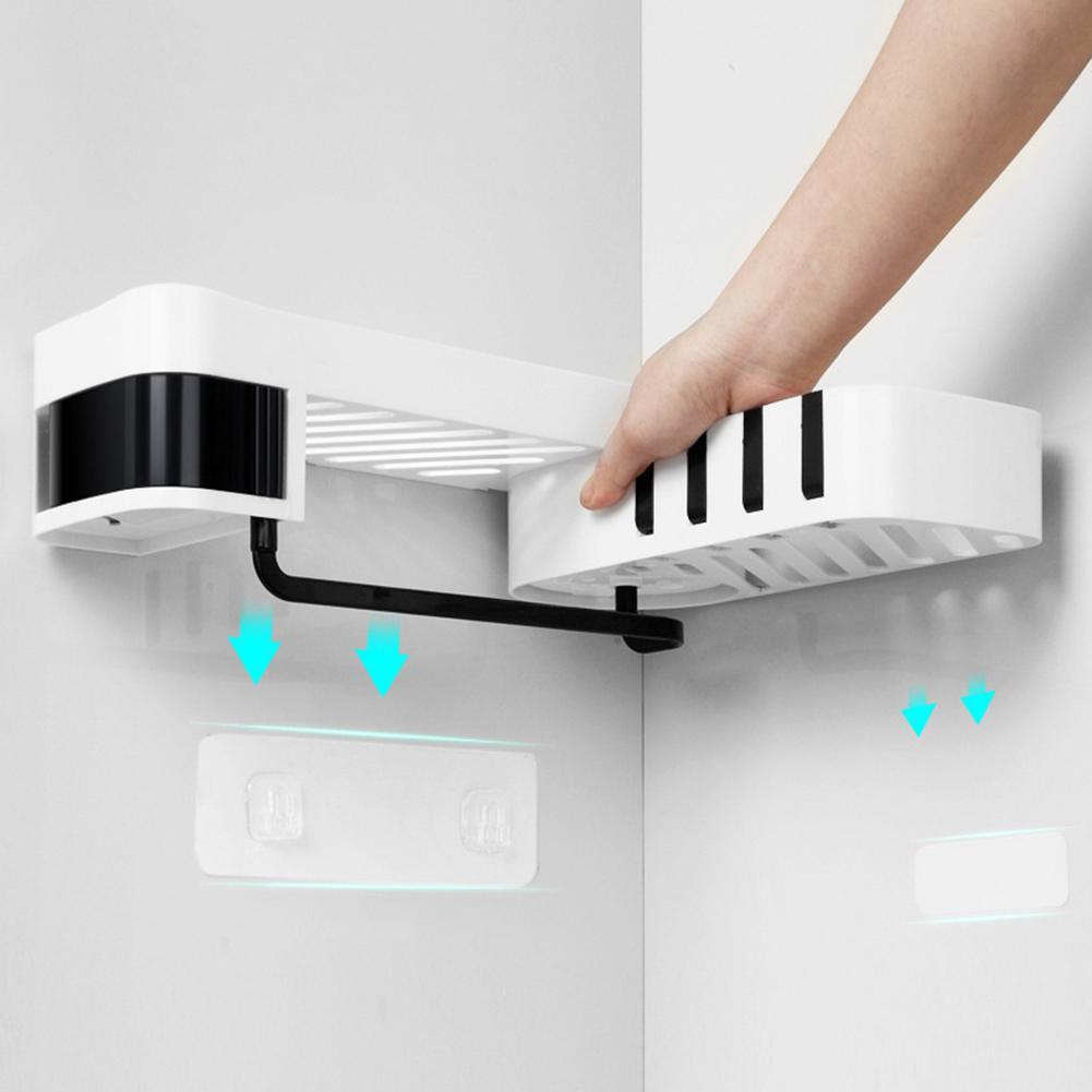 Multifunction Rotating Home Bathroom Wall Corner Protable  Waterproof Storage Rack Shower Shelf Organizer Basket Wall Sticker