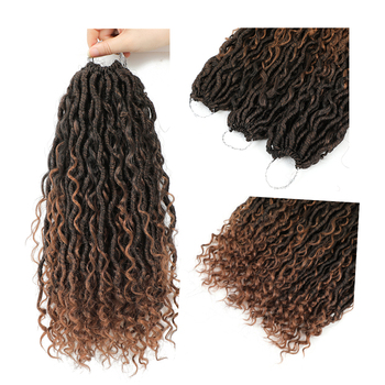 Synthetic Crochet Braids Hair Passion Twist River Goddess Braiding Hair Extension Ombre Brown Faux Locs With Curly Hair X-TRESS 5