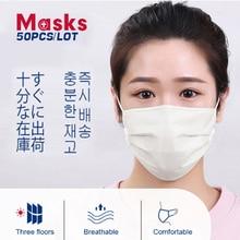 50PCS 3 Layer Disposable Medical Mask Disposable Surgical Mask Anti virus PM2.5 Influenza Bacterial Facial corona virus Masks