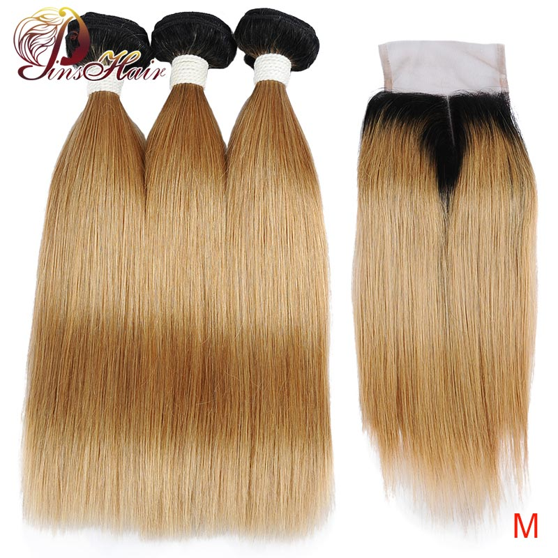 Brazilian Ombr Human Hair Weave Bundles With Closure Pinshair T1B/27 Non-remy Blonde Ombre Bundles With 4*4 Closure Pre-Plucked