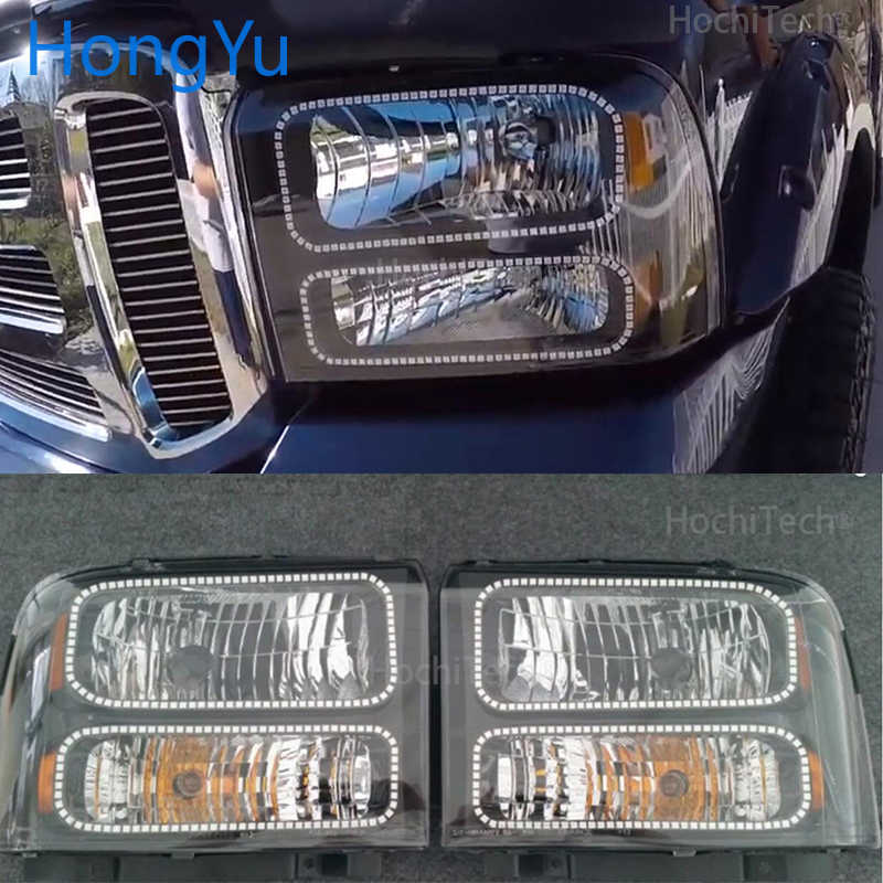 For Ford F-250 F250 2005 2006 2007 Car RGB Multi-Color LED Angel Eyes Halo Ring Light Kit Wireless Remote Control