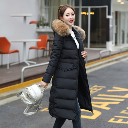 Autumn Winter Jacket Women Parka 2020 Natural Rccoon Fur Duck Down Jacke Female Long Hooded Outwear Basic Tops LX1006
