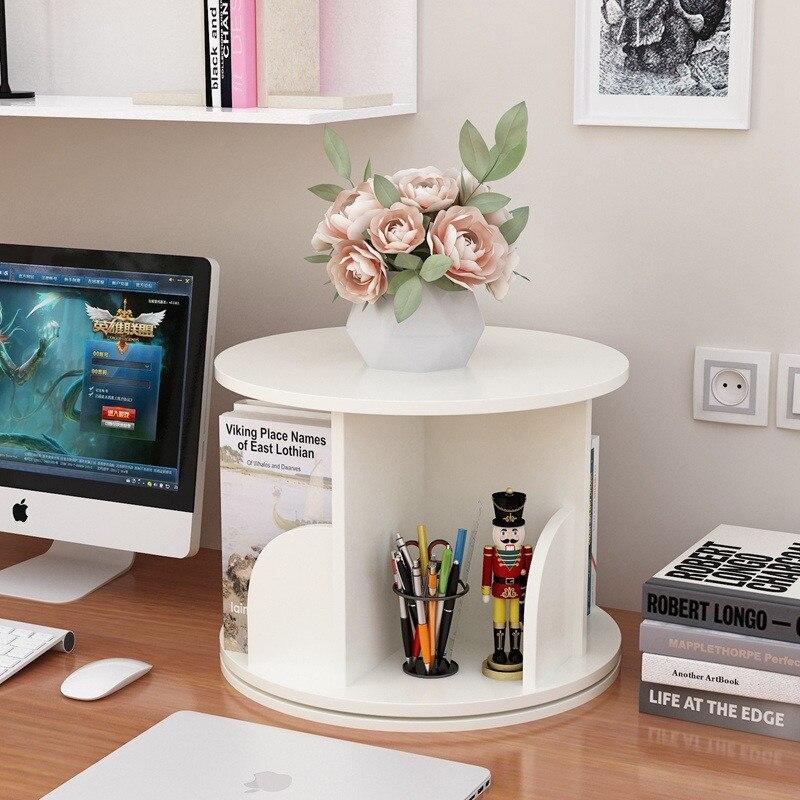 Estantería creativa y sencilla con giro de 360, estantería de libros para niños, estante de almacenamiento para hogar, muebles de oficina, estante de exhibición de madera