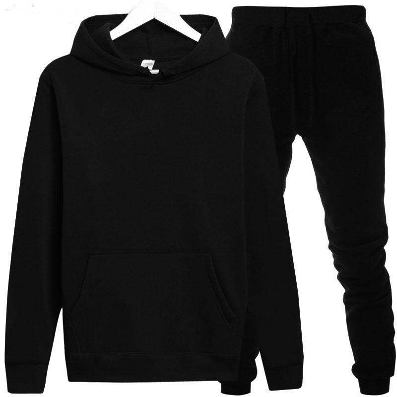 BDNK-01 Tracksuits Autumn Winter Solid Color Sportswear Hoodies+Long Pants Two Piece Set Female Cotton Outfits