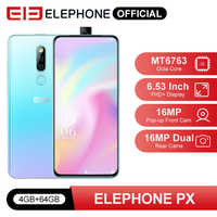 """ELEPHONE PX 4GB 64GB Mobile Phone MKT MT6763 6.53"""" FHD+ Full Screen 16MP Dual Rear Cam Android 9.0 Pop-Up 16MP Cam Smartphone"""
