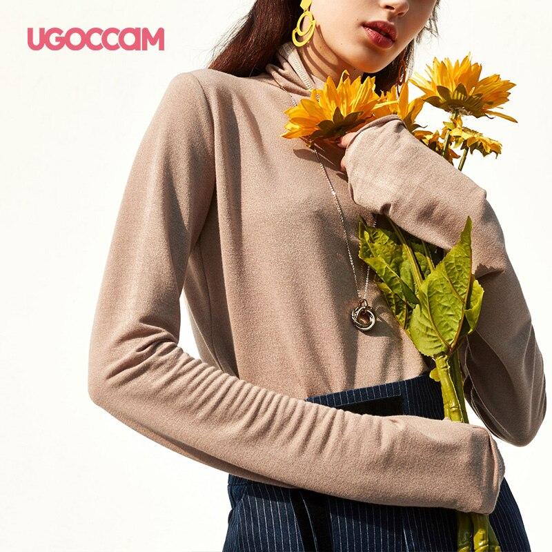 UGOCCAM col roulé T-shirt à manches longues marron Top femmes débardeur pulls femmes T-shirt col montant coréen vêtements femmes 2019