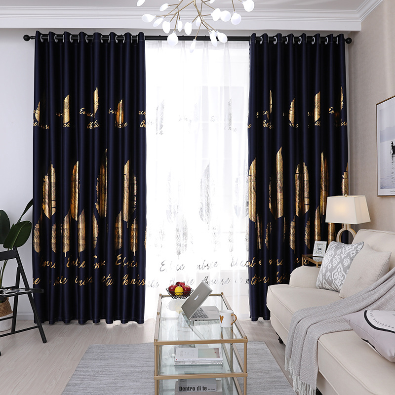 New Gilded Silver Leaves Curtains For Living Room Bedroom Shade Fabric Window Treatments Modern Tulle For Kids Room