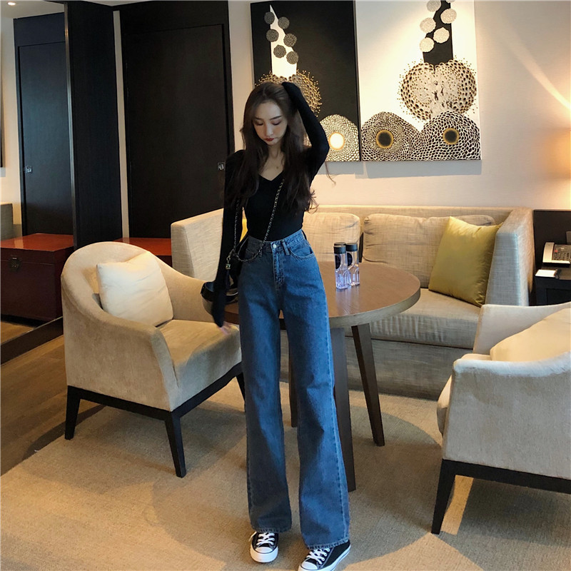 Jeans Women's 2019 Spring New Style Retro High-waisted Slimming Loose Pants Korean-style CHIC Straight-leg Pants Versatile Trous