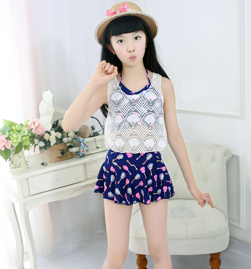 8-12-Year-Old KID'S Swimwear Girls Big Boy Split Type Three-piece Set Students Cute Cartoon GIRL'S Swimwear New Style
